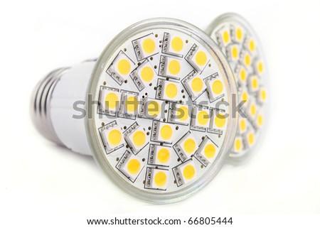 Close up LED lights blub isolated on white background