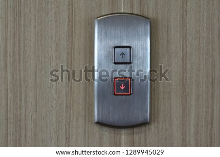 close up lift up and down button of elevator #1289945029