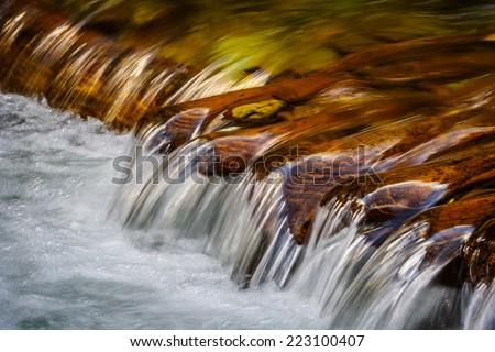 Close up little mountain waterfall