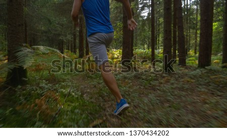 CLOSE UP, LOW ANGLE: Fit male athlete training for marathon by jogging in the peaceful woods on a sunny spring day. Unrecognizable sporty man going for a relaxing jog in the wilderness. #1370434202
