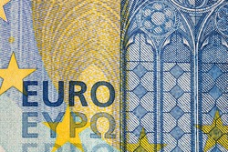 Close up macro detail of EURO money banknotes, detail photo of EURO. World money concept, inflation and economy concept