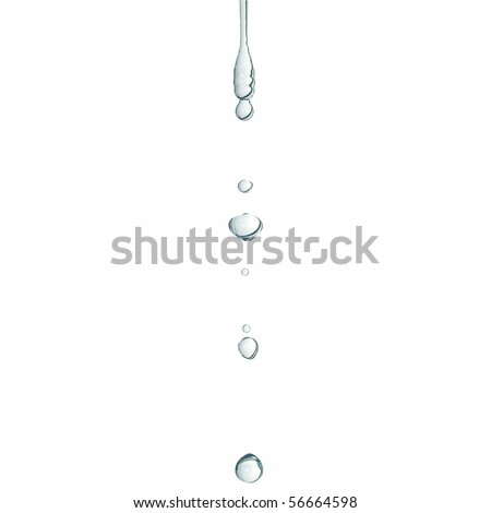 Close-up macro of a water drop droplet - isolated over white background