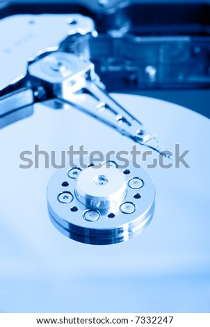 close up macro of an opened computer harddrive