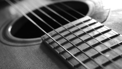 Close up macro on guitar strings. Musical instrument concept. Music and sound. Black and white photography