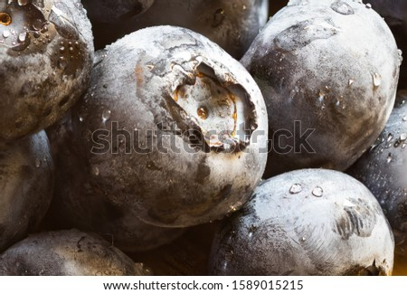 Close up macro photo of a heap of blueberries. Fresh, healthy, freshly washed