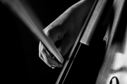 Close up macro photograph of a young cellist practicing