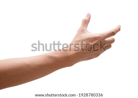 Close up male hand holding something like a bottle or can isolated on white background with clipping path. Сток-фото ©