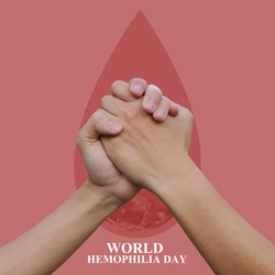 close up man handshake on blood drop for World Hemophilia Day concept:Elements of this image furnished by NASA