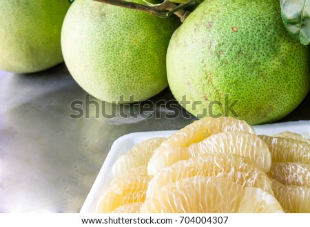Shutterstock Close up many pomelo peeled and pomelo on the table