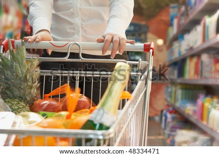 Close up market handcart with food articles in woman hand in shop