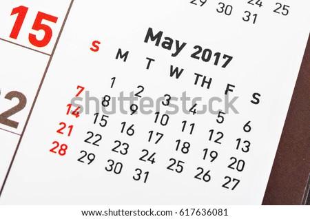 Close up May 2017 calendar page. #617636081