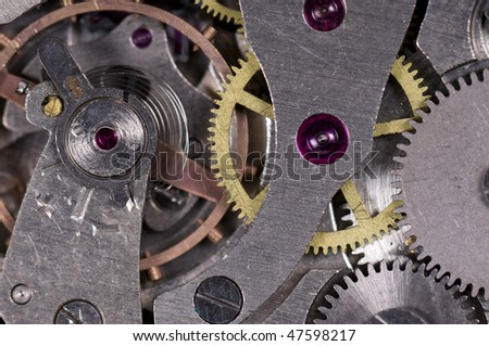 Close-up mechanism of old watch. Photo macro
