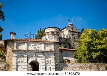 Close up. Medieval castle (Castello di Brescia) with battlements, a tower, drawbridge & ramparts, plus an arms museum in the keep. Brescia, Lombardy, Italy. Italian architecture. Roman ancient castle. #1434802370