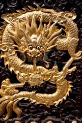 Close up metal gold decoration dragon and sculpture design.