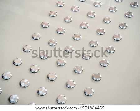 Close-up metallic dot tactile floor, blind path for blind people. #1571864455