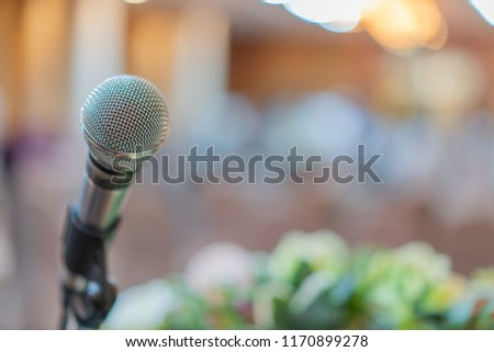 Close up microphone of speech in seminar in conference hall (soft and selective focus)(soft and selective focus), #1170899278