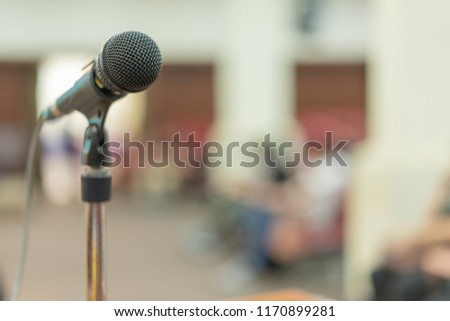 Close up microphone of speech in seminar in conference hall (soft and selective focus)(soft and selective focus), #1170899281