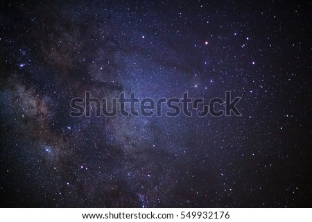 Close-up milky way galaxy with stars and space dust in the universe, Long exposure photograph, with grain.