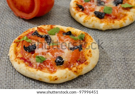 close-up mini pizzas - stock photo