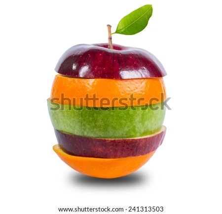 Close up mixed fruit with white background include clipping path Foto d'archivio ©