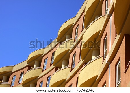 Close-up modern building with blue sky background