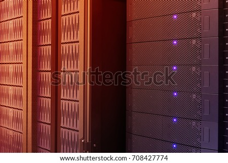 Close up modern of server computer, Super Computer, Data center with abstract color effect.