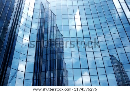 Close-Up modern office building.building with copy space.windows office building for background