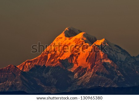 "close up mountain ""Trishul"" during sunset in Indian Himalaya"