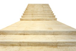 Close up natural stone Travertine staircase isolated on white background