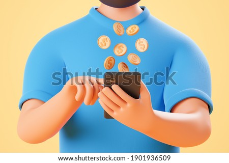Close up no face cartoon character hold smartphone with dollar coins fly from screen over yellow background. 3d render illustration.