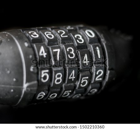 Close up number of combination number lock. Isolated key lock with digits - security code. Stock photo ©