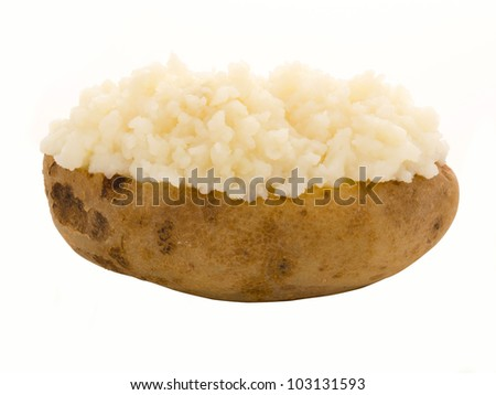 close up of a baked potato isolated on white