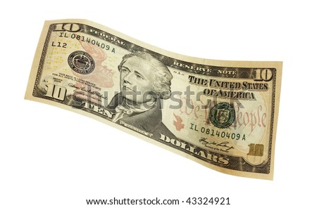 close up of a bank note of ten north american dollars,isolated on a white background