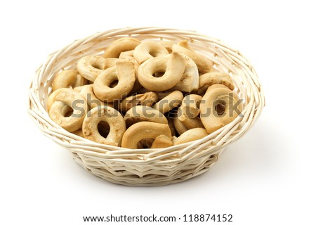 close up of a basket with italian typical biscuits