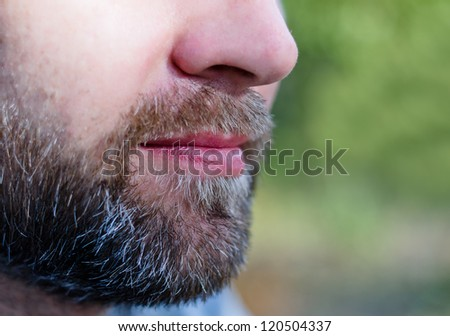 Close-up of a bearded man's chin and nose