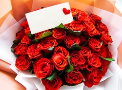 Close-up of a beautiful bouquet of red roses. Valentines concept.
