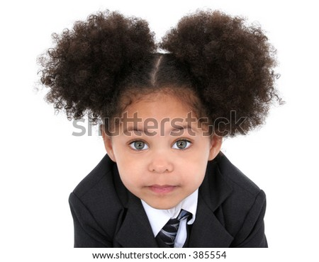 Close-up of a beautiful Little Business Woman In Jacket And Tie.  Huge hazel eyes. - stock photo