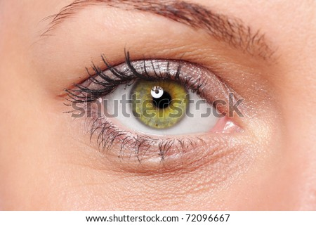Close-up of a beautiful young woman's green eye