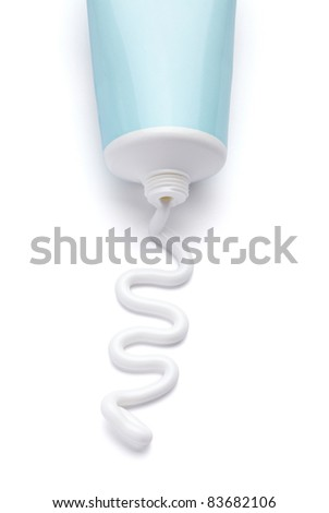 close up of  a beauty cream tube on white background with clipping path