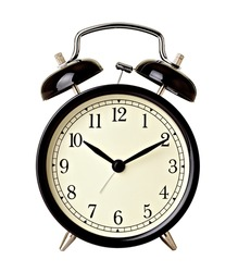 close up of  a bell clock on white background