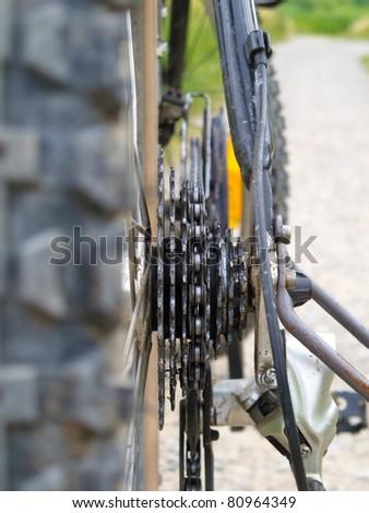 Close up of a bike transmission