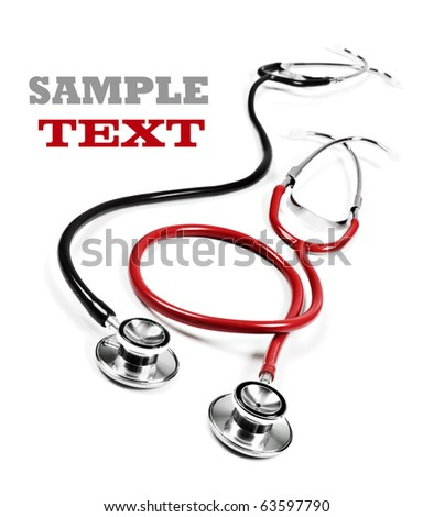 Close up of a black and red doctor's stethoscope on a white background with space for text