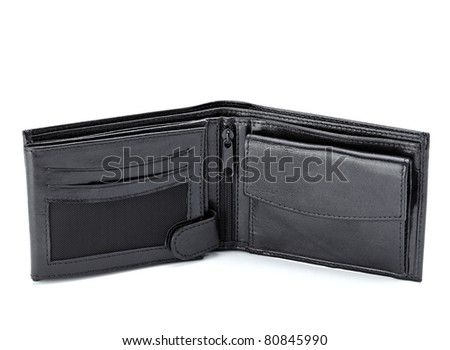 close up of  a black leather wallet on white background