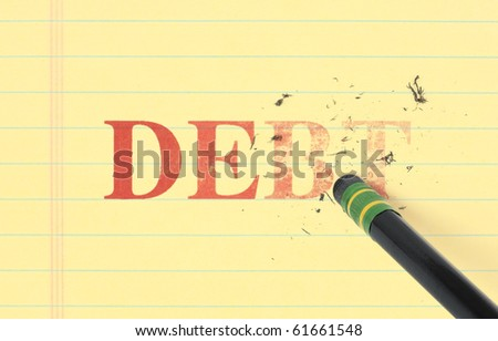 Close up of a black pencil erasing the word, 'debt' printed in red on yellow ledger paper.