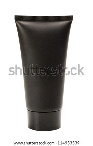 Close-up of a black tube of moisturizer