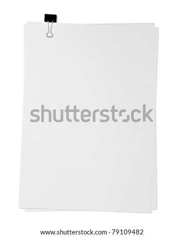 close up of a blank paper and clip on white background with clipping path