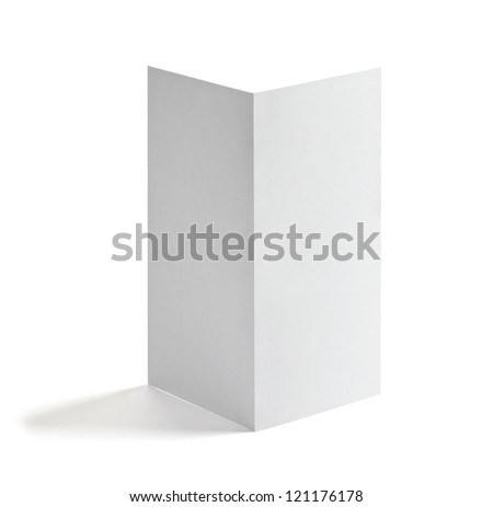 close up of a blank white paper template on white background