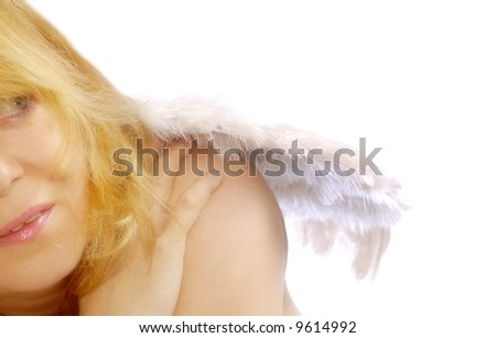 close up of a blond woman with angel wings
