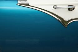 Close up of a blue door of a 1950's classic car, in Havana, Cuba.