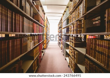 Close up of a bookshelf in library
